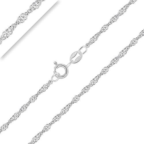 PLANETYS - Kinder und Baby Singapurkette 925 Sterling Silber Rhodiniert Kette - 2 mm Breite Längen: 36 cm