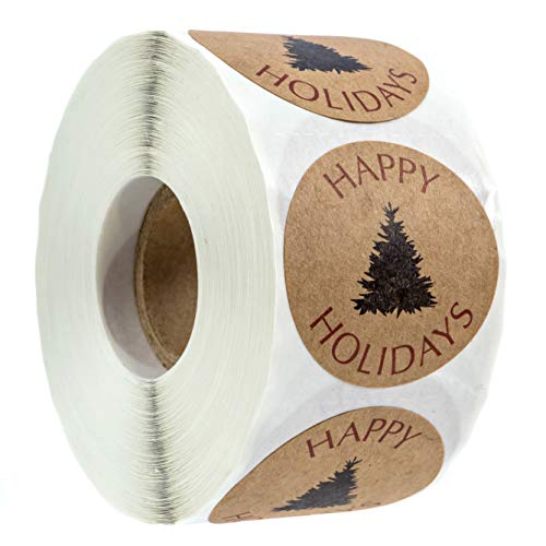 "Northwoods Buffalo Plaid Christmas Stickers / 500 Christmas Tags / 1.5"" Happy Holidays with Black Tree Sticker"