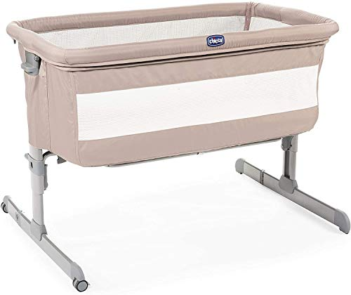 Chicco Next2Me Co-Sleeping Cot for Baby Chick to Chick with Mattress, Side Opening, Adjustable Height, Mesh Panels, Wheels and Travel Bag 0-6 Months, 9 kg, Brown (Sand)