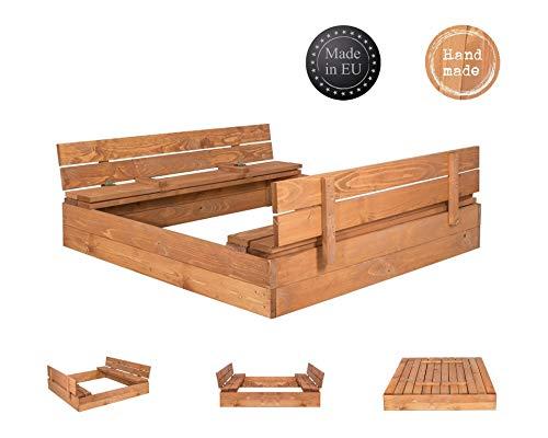 SPRINGOS Bac à Sable avec Banc et Couvercle bac à Sable pour Enfants 120 cm x 120 cm bac à Sable en Bois imprégné Aire de Jeux Jardin