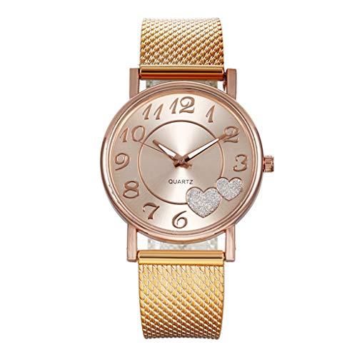 Women Watches Analog Quartz Round Dial Mesh Belt Watch Heart Print Girl Wristwatch Teen Girls Watches Fashion Watches