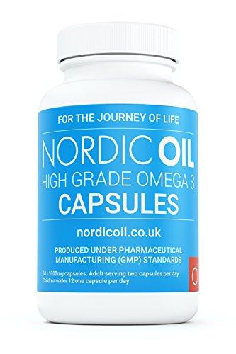 Nordic Oil 1000 mg Pharmaceutical Grade Omega 3 Fish Oil Capsules, Pot of 60 Capsules