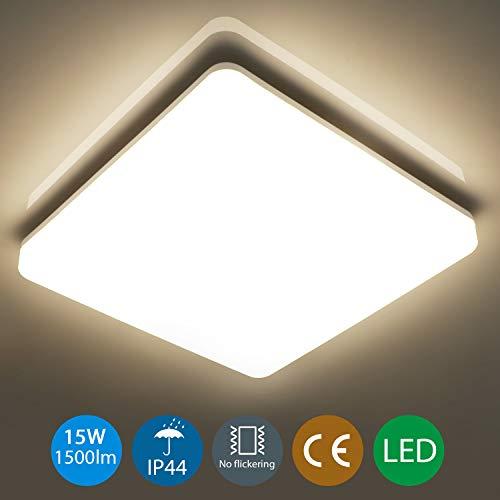 Oeegoo® 15W led Deckenleuchte Bad, IP44 Wasserfest Deckenlampe 22x22cm, 1300lm (85Lm/W) Ersetz 100W Glühbirne, Led Flimmerfrei Badleuchte, Wohnzimmerlampe, Badezimmerlampe, Neutralweiß 4000K