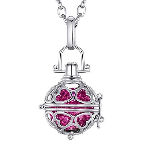 Morella® Damen Halskette Edelstahl 70 cm mit Herz-Kugel Anhänger und Klangkugel Zirkonia pink Ø 16 mm in Schmuckbeutel
