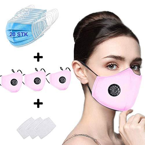 20 Stück Mundschutz Maske Schutzmaske Plus 3 Mund und Nasenschutz Waschbar Staubschutzmaske Wiederverwendbar Atmungsaktiv Mundschutz Winddicht Unisex Halstuch - Mit 3 Aktivkohlefiltern