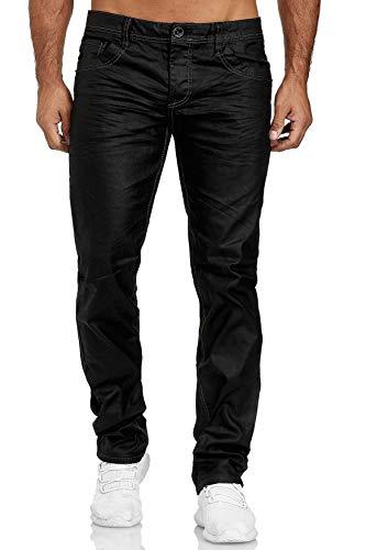 Herren Coated Denim Jeans Schwarz Beschichtete Hose Leder Optik Dicke Naht Übergröße Big Size, Farben:Schwarz, Größe Jeans:42W