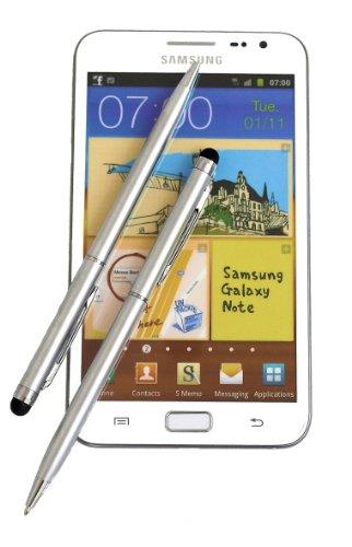 2x SILVER tomaxx Stylus Pen - Eingabestift mit Kugelschreiber für kompatibel für Sony Xperia Z2 Tablet, Sony Xperia Z2, Samsung Galaxy S5, Samsung Galaxy Note Pro P905, P900, Samsung Galaxy Tab PRO, ZTE Nubia Z5S, Samsung Galaxy Core LTE, Samsung GALAXY Core Plus, Alcatel One Touch Idol Alpha, LG L40, LG L70, LG L90, Wiko Highway, LG G Pro 2, Samsung Galaxy Note 3 Neo LTE+, HTC Desire 310, doro Primo 571