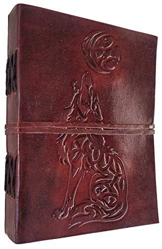 Kooly Zen Notizblock, Tagebuch, Buch, echtes Leder, Vintage, Wolf Hund, 13 cm x 17 cm, 240 Seiten, Premiumpapier