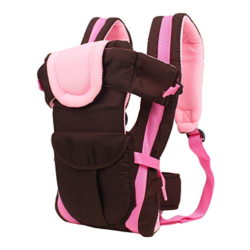 Eranqo® 4-in-1 Adjustable Baby Carrier with Safety Belt and Comfortable Head Support Front and Back Carrier Baby/Kids Sling Bag (Pink)