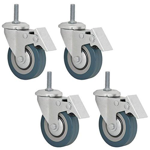 eyepower 4er Set Transportrolle Schwerlastrolle 75mm mit Gewindestift (M10) Lenkrolle 360° drehbar Feststellrolle mit Bremse Nylon Laufrolle in Grau Bremsstützrad