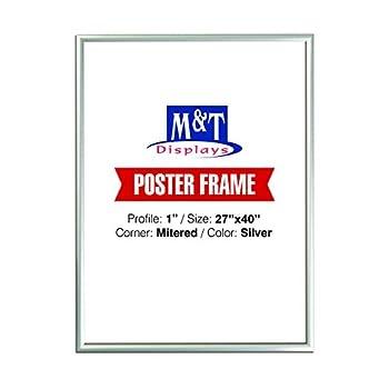 M&T Displays Snap Frame 27X40 Poster Size 1  Silver Color Profile Mitered Corner