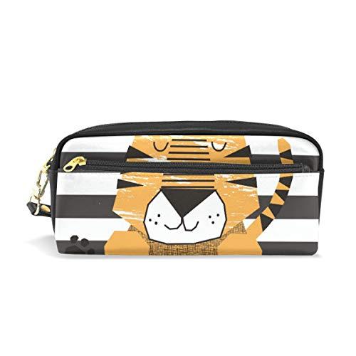 Little Tiger - Estuche escolar con diseño de rayas, color marrón y blanco