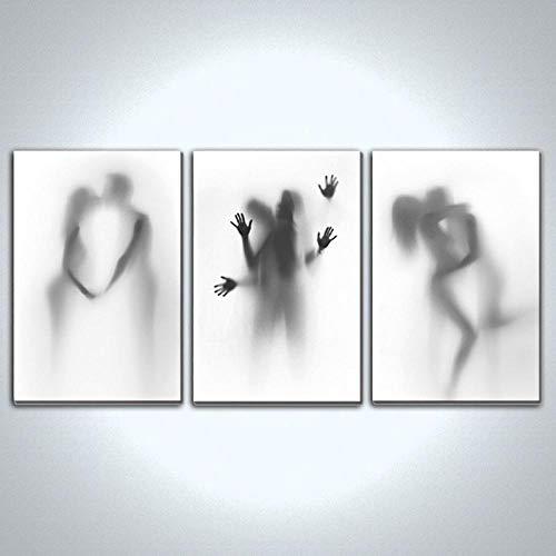 ZDFDC Minimalist Schwarz Weiß Leinwand Malerei Sexy Männer und Frauen Küssen Poster Drucke Wandkunst Bilder für Wohnzimmer Schlafzimmer Dekor-60x90cmx3 ohne Rahmen