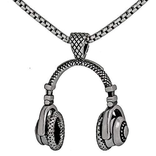 Inveroo Música DJ Auriculares Collares Pendientes Cadena De Acero Inoxidable Hombres Mujeres Hip Hop Joyería Rock Auriculares Collar Música Regalo