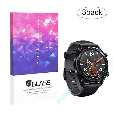 BECEMURU HuaWei Watch GT-schermbeschermer 9H Volledig dekkingsscherm Gehard glasbeschermer voor HuaWei Watch GT Smartwatch (3-pack)