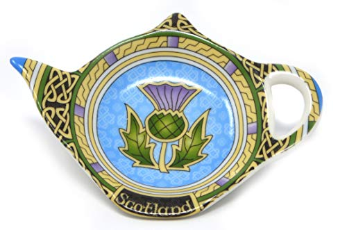 Scotland Tea Bag Holder with Thistle - Teapot Shaped Resting Caddy Saucer/Scottish Thistle Tea Bag Saucer - Made of New Bone China Celtic Tea Accessories Diameter 4'/10cm