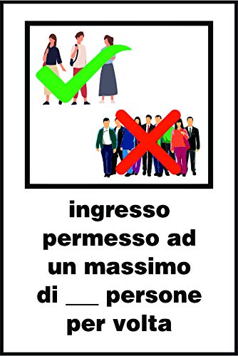 Cartello REGOLE INGRESSO PERSONE PER EPIDEMIA COVID-19- in alluminio 25x37 cm