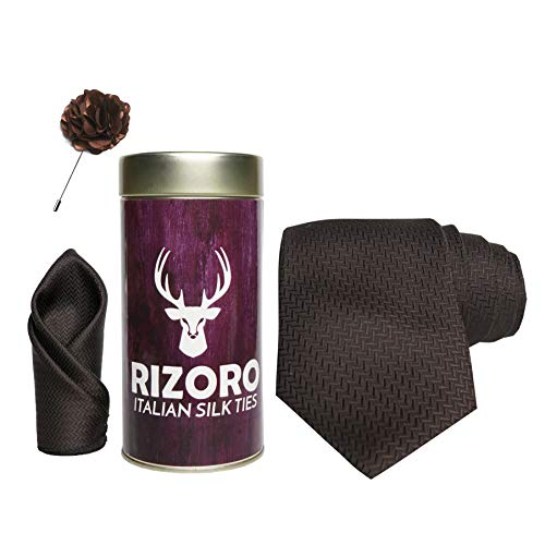 Rizoro Mens Plaid Micro Self Silk Necktie Gift Set With Pocket Square & Brooch Pin Formal Tie Combo (SIDIRT, Free Size)