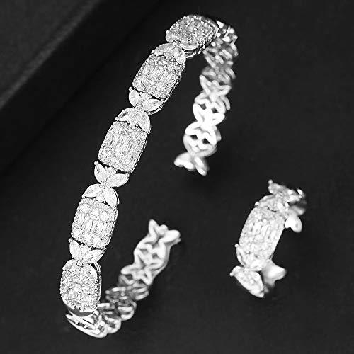 ZIRCOSHNY - Conjunto de anillos de boda para mujer, circonita cúbica y circonita
