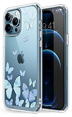 i-Blason Halo Case for iPhone 13 Pro Max 6.7 inch (2021 Release), Slim Clear Case with TPU Inner Bumper (Butterfly/Blue)