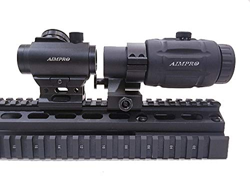 AIMPRO Micro Red Dot Sight with Flip to Side Magnifier Combo