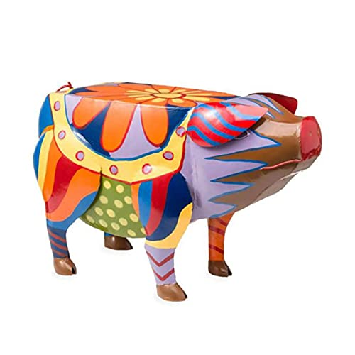Qagazine Colorido arte popular cerdo mesa auxiliar Animal Figura de resina animal estatuas esculturas artesanías adornos animales para interior exterior jardín patio decoración