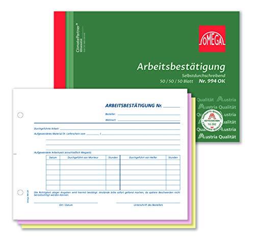Omega Arbeitsbestätigung 994 OK, selbstdurchschreibend, A5 quer, 3 x 50 Blatt, weiß/rosa/gelb