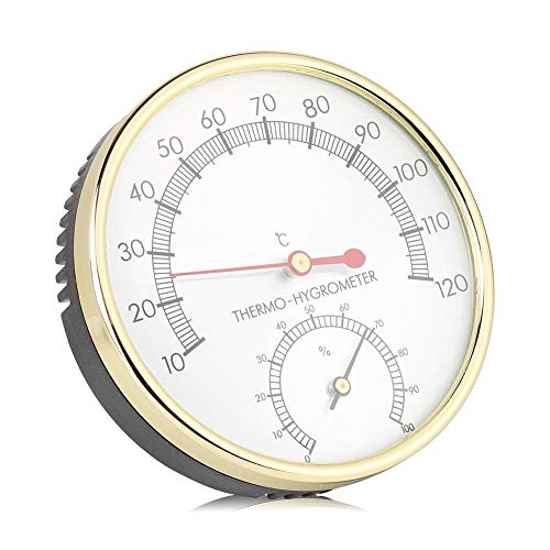 Zerodis 2 in 1 Sauna Hygrothermograph Thermometer Hygrometer Wandhalterung Digitale Sauna Raumzubehör für Häuser Büros Werkstätten Schulen Märkte Lager 10 ℃ ~ 120 ℃