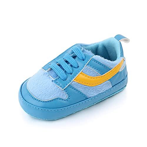 Zapatillas de deporte for bebés infantiles Zapatillas de deporte recién nacido Primeros caminantes Primeros andadores for niños Mocasines Cuna zapatos de cuna ( Color : Blue , Size : 12-18 Months )