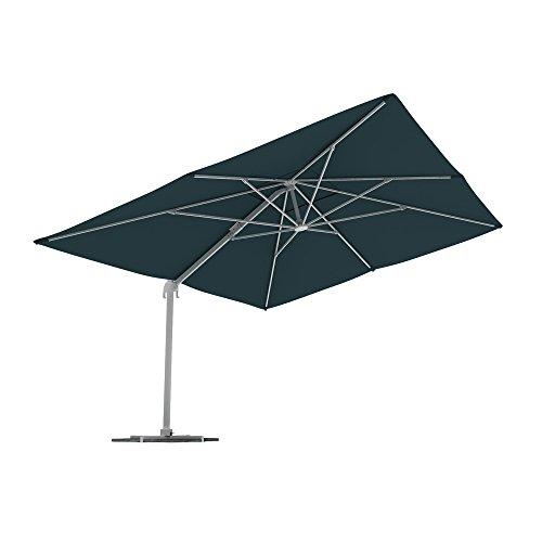 PARAMONDO Parapenda parasol à mât excentré| Parasol déporté pour jardin| 4x3m (rectangulaire/vert) / compris l'armature et le pied forant(anthracite)