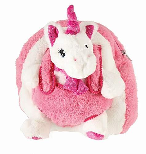 Bieco kinderrugzak met eenhoorn pluche dier, pluche rugzak met verstelbare riemen, rugzak voor kinderen, kinderrugzak, 24 cm, wit/roze