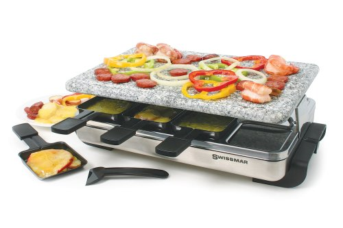 Swissmar Stelvio 8 Person Stainless Steel Raclette with Granite Stone Top
