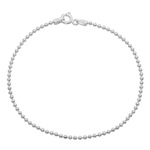 Thin 1.8mm Real 925 Sterling Silver Nickel-Free Ball Bracelet, 7 inches - Made in Italy + Cleaning Cloth