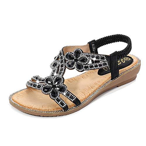 Yicornchen Women's T-Strap Beaded Flower RhinestoneFlat Sandals Dress Beach Shoes(7 B(M) US,Black)