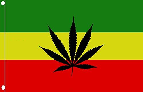 DURABOL Flagge Rastafari Marihuana Flag 90 x 150 cm SATIN 2 Metallringe am Saum befestigt