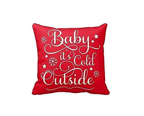 Leioh decorazioni cotone lino Baby It' s Cold Outside modello Home Decor design rosso copridivano copertura del cuscino federa 45,7x 45,7cm, regali di Natale