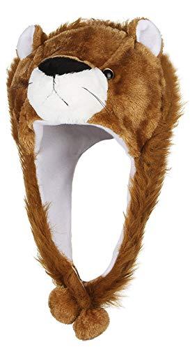 DEMU DEMU Damen Tiermütze Wintermütze Plüschmütze Kopfbedeckungen Fliegermütze Pilotenmütze Karneval Löwe