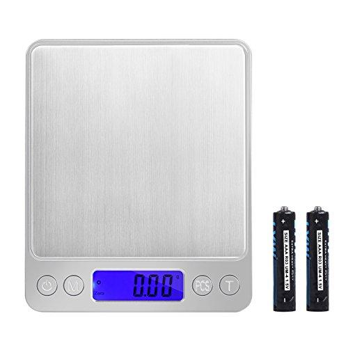 Neoteck Mini Balance Cuisine Électronique 0.01-500g Balance de Précision Numérique en Acier Inoxydable avec Tactile Sensible Écran LCD Rétroéclairé Arrêt Automatique