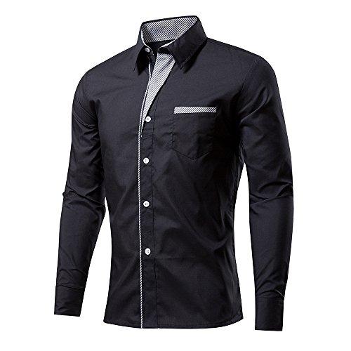 Rmine Herren Langarm Hemd Bügelleicht für Freizeit Business M-4XL (Schwarz, XXXXL)