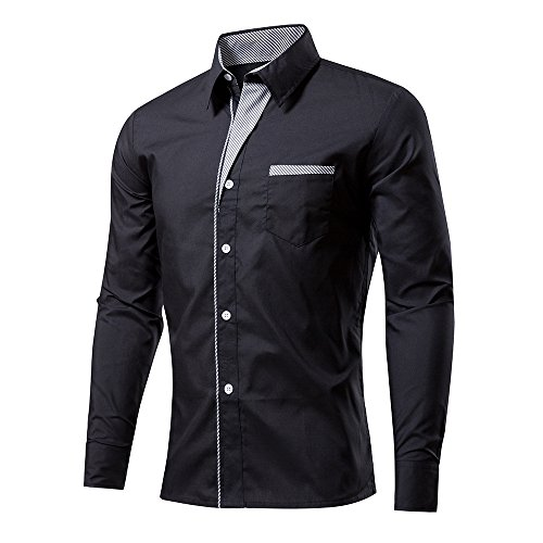 Rmine Herren Langarm Hemd Bügelleicht für Freizeit Business M-4XL (Schwarz, XXXL)