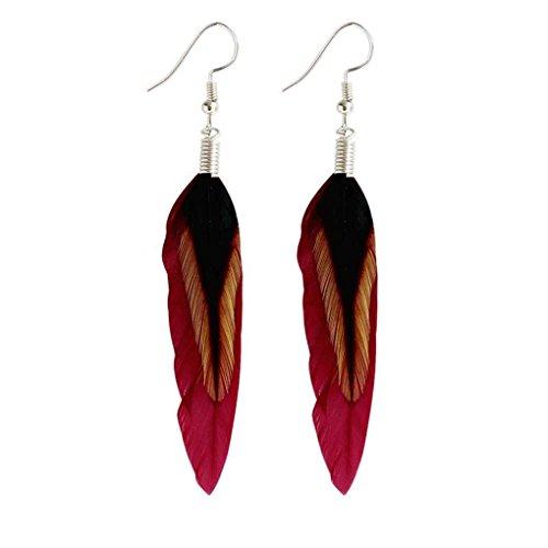 Windy5 Multicolore noir plume Boucle d'oreille en Bohême Folk Silver Style Couleur Boucles d'oreilles