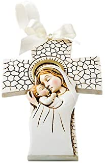 Fashioncraft, Baptism First Communion Christening Favors, Madonna and Child hanging cross ornament, Set of 30