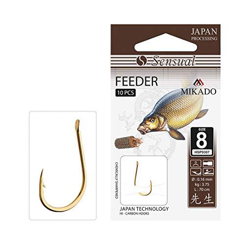 10x MIKADO Sensual Feeder scharfe Feederhaken Angelhaken (Gold) Größe 6 / Vorfach Ø0,18mm / 70cm