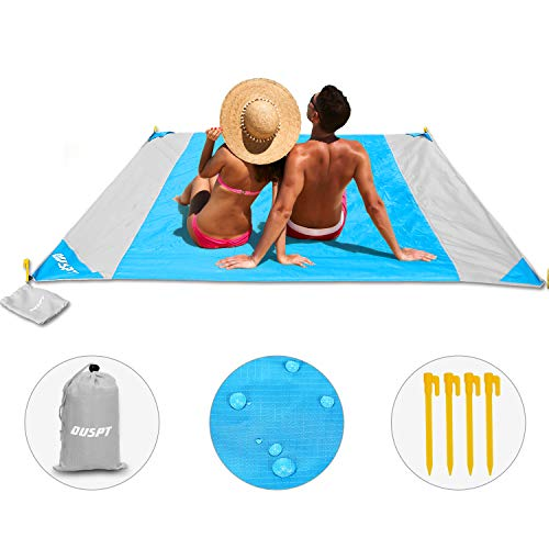 OUSPT Beach Blanket, Sand Free Picnic Outdoor Mat- Large 7.8