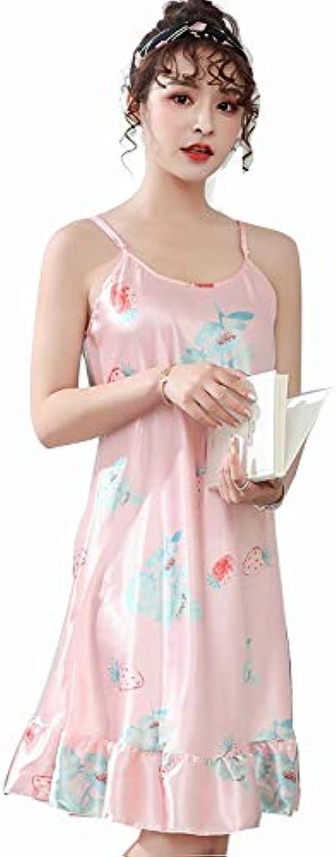 Nightdress Summer Thin Pajamas Female ice Silk Dress Skirt Sexy Nightgown Simulation Silk Bathrobe Home Service (color   A, Size   OneSize)
