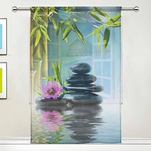 Fenstervorhang für zu Hause Schlafzimmer Wohnzimmer Dekor Gardine Zen Quellwasser Blume Stein Bambus Vorhänge Retro Tüll Print Semi Sheer