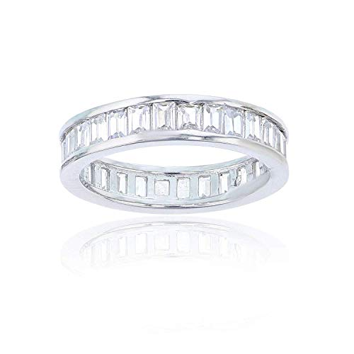 Sterling Silver 2x3mm Emerald Cut Cubic Zirconia Channel Set Eternity Band Ring