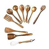 Kaxofang Utensili da cucina in legno KüChe, 10 pezzi in legno con paletta e spatola per cucinare, piatti da cucina per uso domestico e KüChe