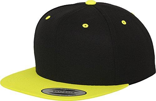 Yupoong Flexfit Unisex Kappe Classic Snapback 2-Tone, zweifarbige blanko Cap mit geradem Schirm, One Size Einheitsgröße für Männer und Frauen, Farbe blk/neonyellow