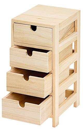 Schubladenturm mit 4 Schüben, Kommode Holzkommode Aufbewahrung